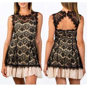 Black Cream Eyelash Lace Tulle Cocktail Cute Dress
